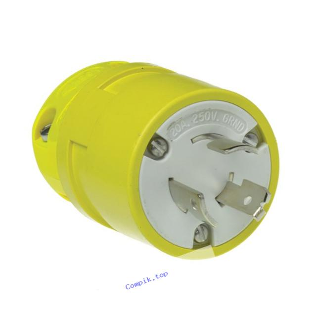 Woodhead 2407 Super-Safeway Plug, Industrial Duty, Straight Blade, 3 Poles, 3 Wires, Rubber, Yellow, 15A at 125V and 10A at 250V Voltage