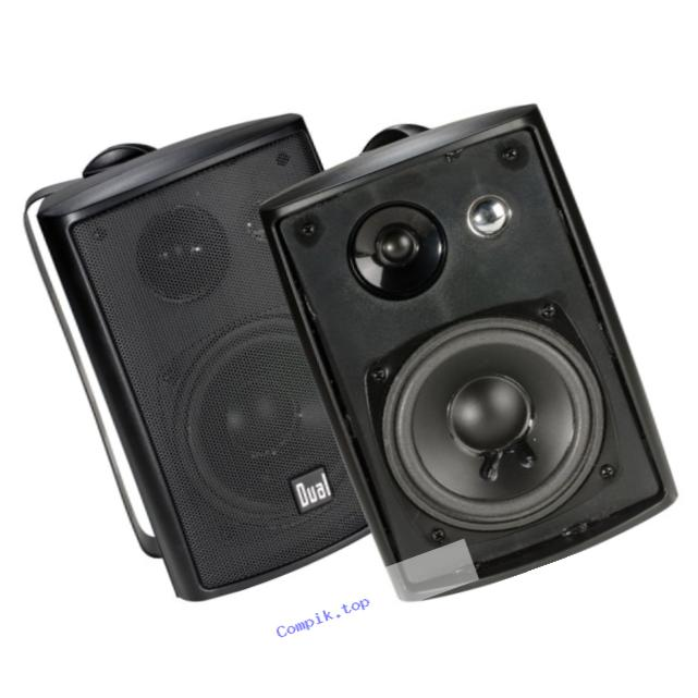 Dual Electronics LU43PB 3 Way Indoor Outdoor Studio Speakers in Black with Swivel Brackets